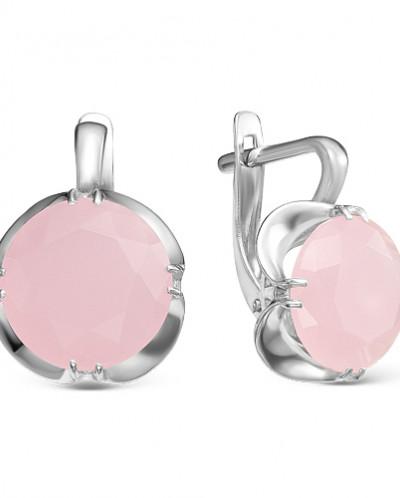 Серьги из серебра с розовым кварцем родированные