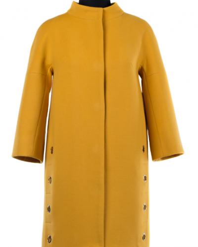 01-7287 Пальто женское демисезонное Кашемир Желтый