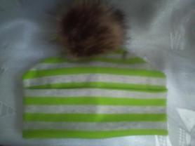 Новая,двойная,трикотажная шапка,унисек,помпон иск