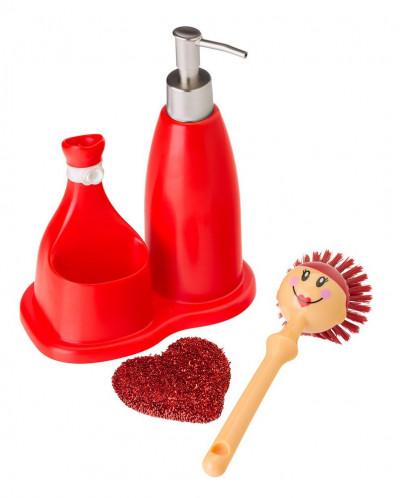щетка для посуды, губка, дозатор на подставке DOLLS