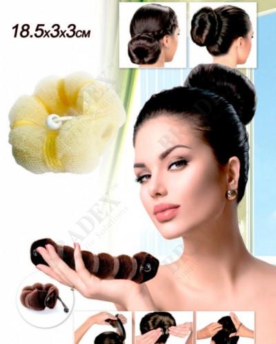 Валик для волос для создания прически «ПУЧОК» цвет блонд, 18