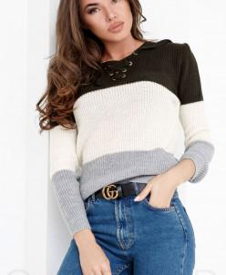 Теплый свитер шнуровка