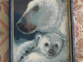 Картина Северное сияние Медведица с медвежонком