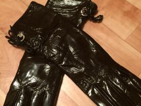 Лаковые удлинённые перчатки, р-р 7,5