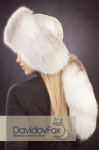 Ушанка с хвостом полярная лиса (кожа)