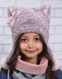 "Зимняя шапка для девочки ""Киска"" (ОГ - 48-50 см)"