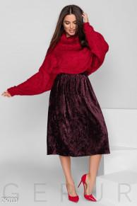 Бархатная плисссированная юбка