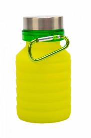 Бутылка для воды силиконовая складная с крышкой и карабином,