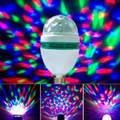 Вращающаяся разноцветная LED лампа Диско с переходником