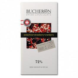 """Шоколад """"BUCHERON"""" Горький с клюквой, клубникой и фисташки."""
