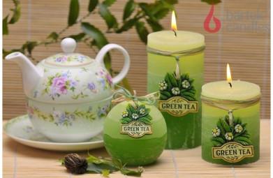 Свеча колонна Зелёный чай 70х90
