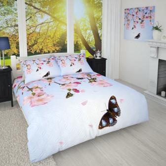 Фотопокрывало Бабочки и цветы Габардин 145*215