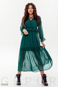 Длинное комбинированное платье