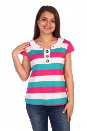Женская футболка Мадина (3184). Расцветка: полосы на розовом