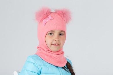 Шапка-шлем с 2 натуральными пампонами (песец)