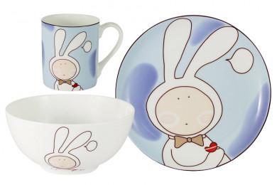 Набор из 3-х предметов Зайчонок: кружка, тарелка, миска Anna
