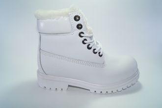 Ботинки Timberland Высокие белые с мехом на яз. Р-р 36-40