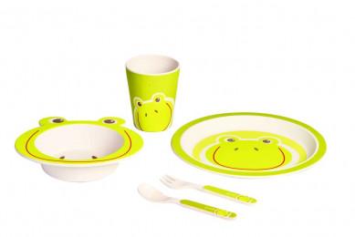 Бамбуковая детская эко-посуда Лягушка 5 предм.