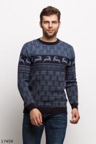 Мужской свитер 17459 темный синий принт