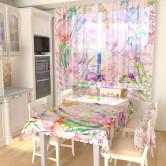 Тюль для кухни Прекрасные цветы с бабочками 1