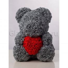 Мишка из роз с сердцем 20 см