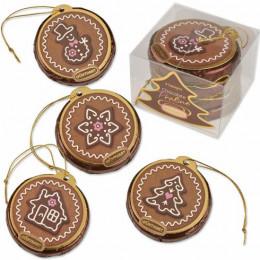 Набор из 4-х Коричнево-розовых новогодних шоколадных дисков