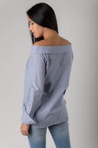 Женская рубашка в полоску синяя