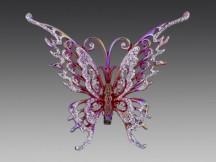 Бабочка лилово-серебряная голографическая на прищепке