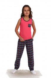 Детская пижама с кармашком хлопок (1303 к). Расцветка: корал