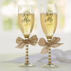 Mud Pie Wedding Champagne Glasses Set