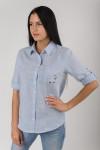 Изображение 1  Женская рубашка хлопковая голубая