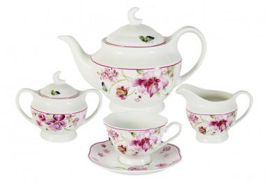 Чайный сервиз из 15 предметов на 6 персон Розовые цветы