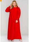 Платье вечернее свободное с манжетами из пайеток, красное
