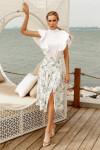 Белая юбка с акварельным принтом