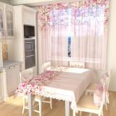 Тюль для кухни Цветочный верх 1