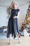 Платье из меланжевой пряжи с серебристыми блесткам