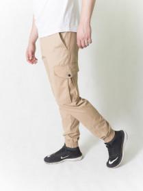 Джоггеры мужские  бежевые с боковыми карманами