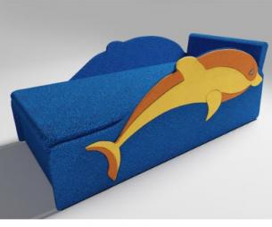 Детский диван «Дельфин» для детей из мягкой велюровой ткани
