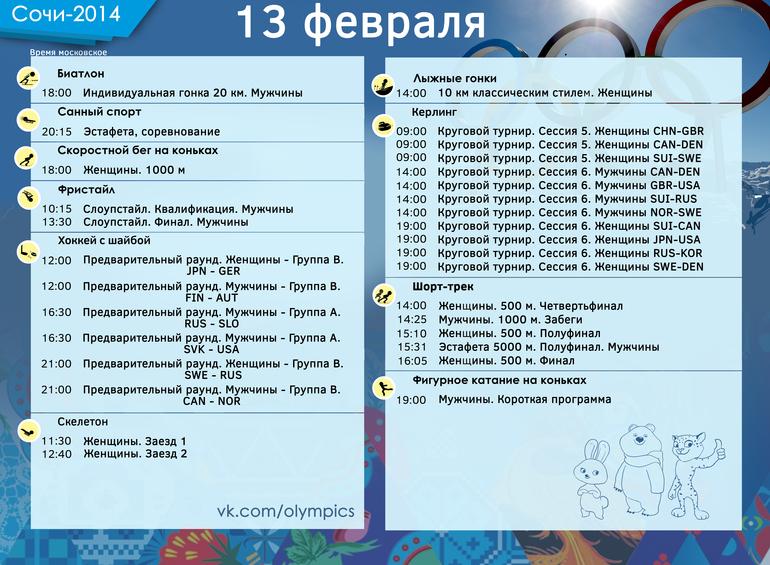 Олимпиада, 13 февраля