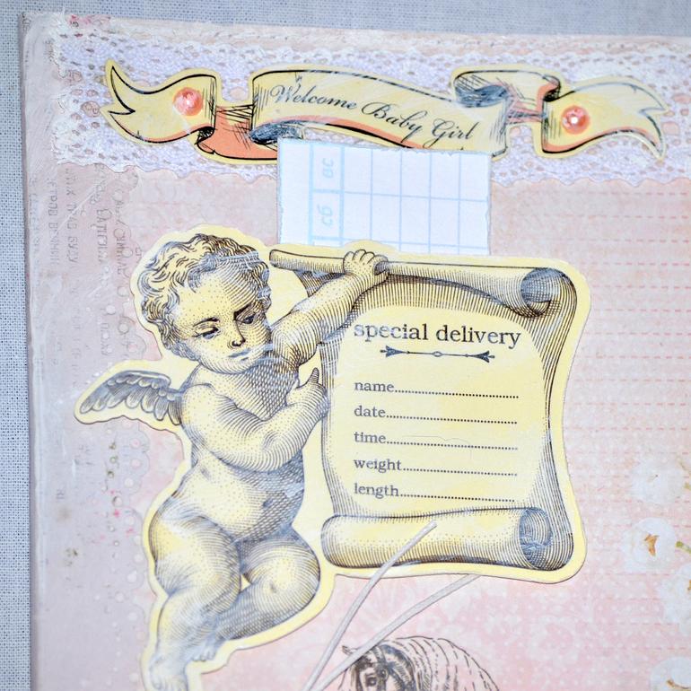 Альбом для девочки в стиле Шебби. Четвертый разворот.