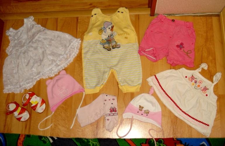 Одежда на девочку 3-9 мес. плюс обувь 19 и 20 р.