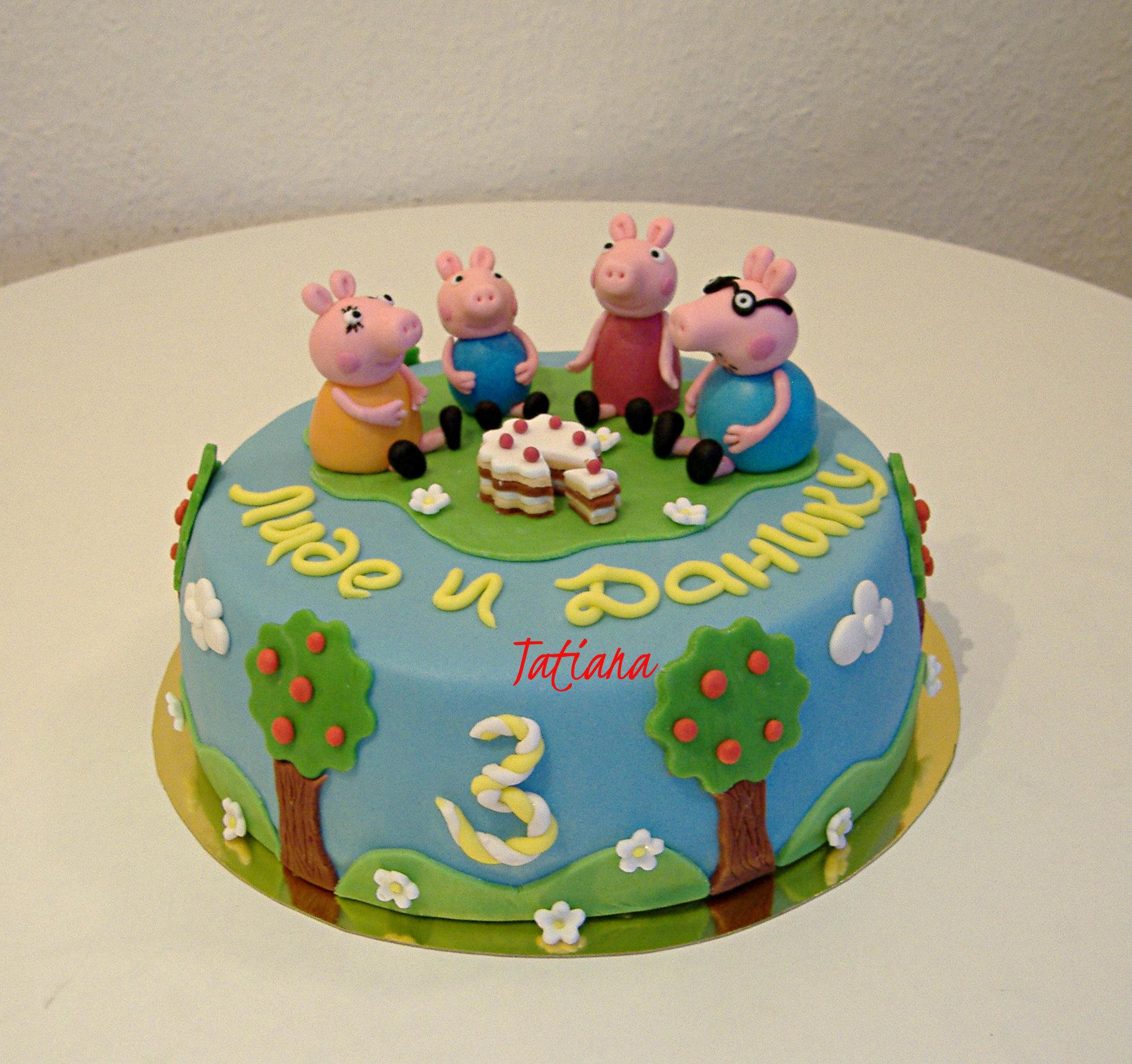 Детский торт своими руками. Торт со свинкой Пеппой 5