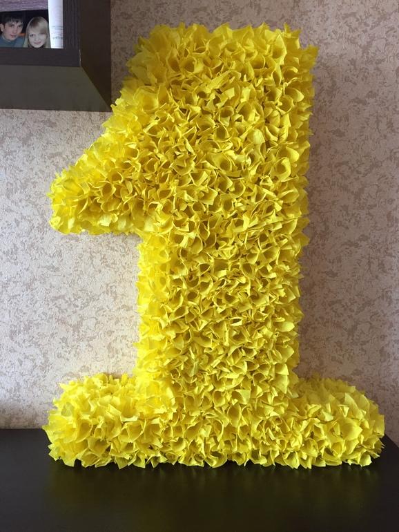 Как сделать цифру 1 на день рождения своими руками из салфеток фото 55