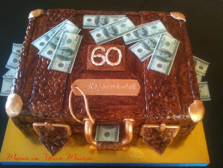 Торт на 60 летие. Чемоданчик 7 кг. Молочная девушка с вишней))