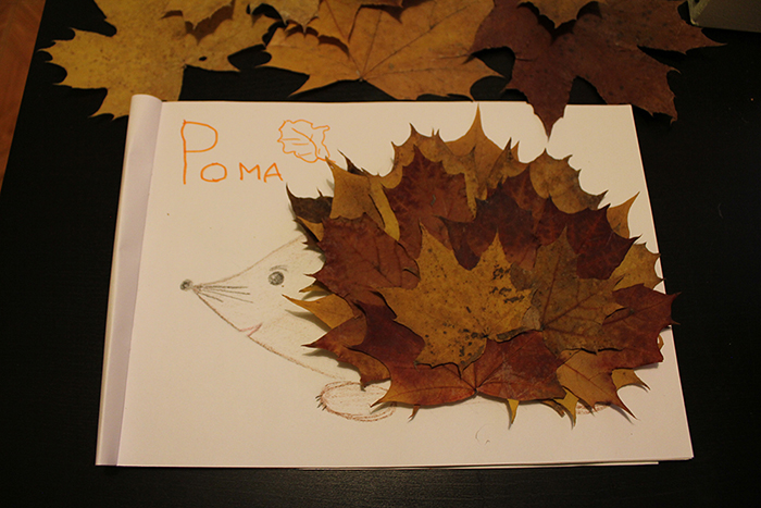 Простые поделки из кленовых листьев 23