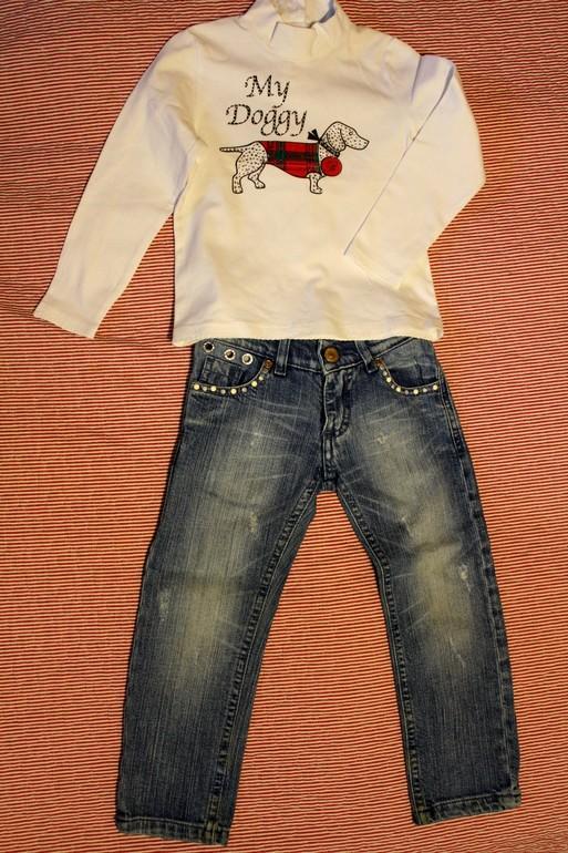 Комплект джинсы Monnalisa + лонгслив Blumarine Baby, 3 года, 1500 рублей