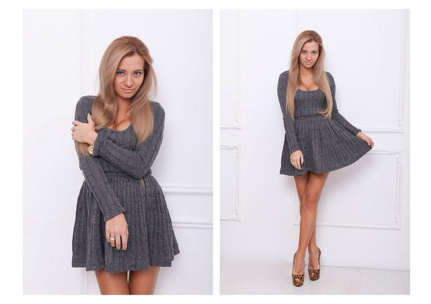 Короткое вязаное платье