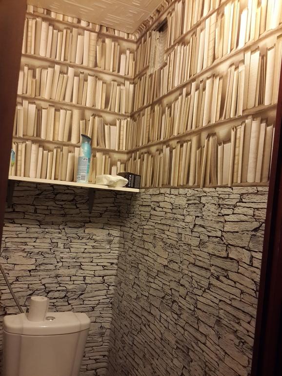 дизайн туалета 1.5 кв.м фото с обоями