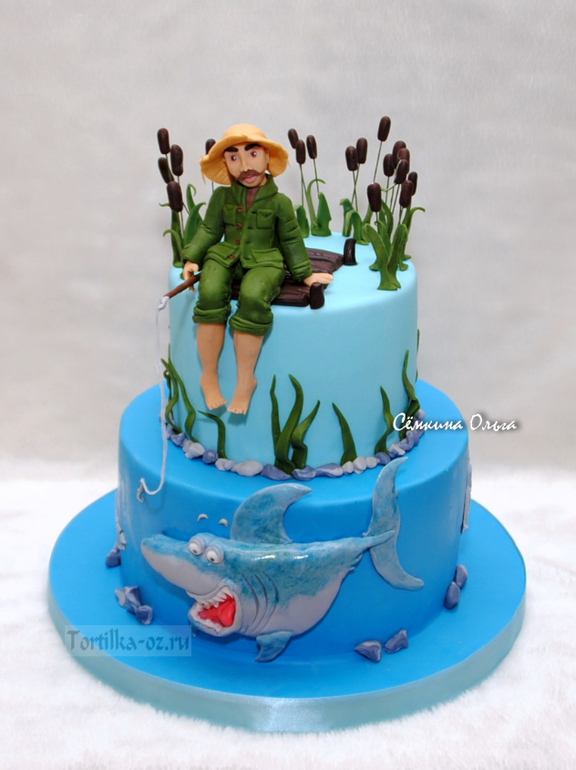 торт двухъярусный с рыбаком