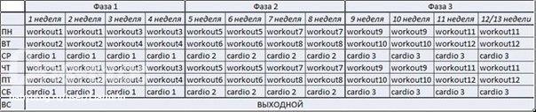 План тренировок (приблизительный)